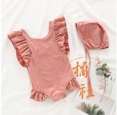 兒童游泳衣嬰兒寶寶可愛連體波點【橘社小鎮】