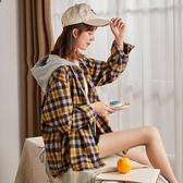 特惠襯衫外套唐獅秋裝新款格子襯衫女寬鬆韓版連帽襯衣心機上衣設計感外套交換禮物