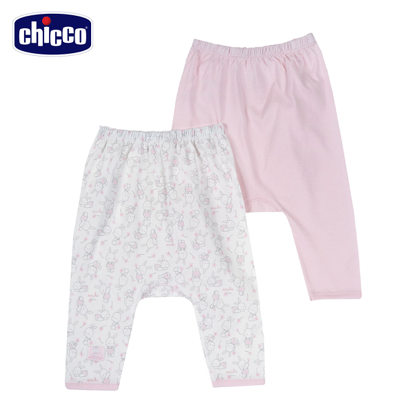 chicco-印花初生褲二入-花朵小兔