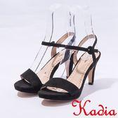 ★2017春夏新品★kadia.絲絨一字高跟涼鞋(7136-95黑)