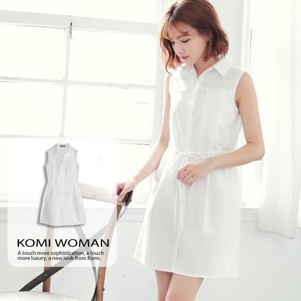 純棉洋裝【KOMI】純棉淨白綁帶襯衫式無袖洋裝(1616-619969)
