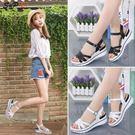 涼鞋 坡跟涼鞋女夏季真皮平底學生簡約百搭時尚中跟韓版厚底鞋-71512