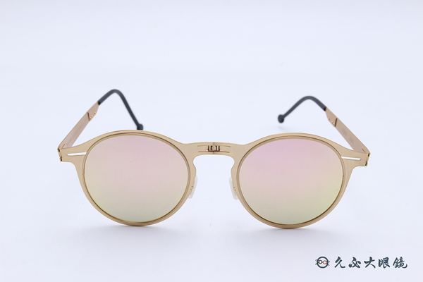 ROAV 偏光太陽眼鏡 Balto - Mod.1003 ( 金框/粉水銀) 薄鋼折疊墨鏡