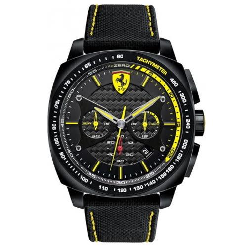 FERRARI Formula Italia 飆風急速計時三眼黑面皮帶腕錶/0830165