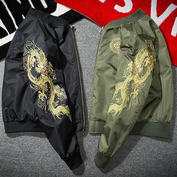 空軍夾克 MA1-個性精緻刺繡中國龍飛行員男軍裝外套2色73pf3[巴黎精品]