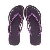QWQ創意鞋- 璀璨面鑽 施華洛世奇水鑽夾腳人字拖鞋-神秘紫 (璀璨晶鑽系列 )