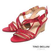 Tino Bellini 巴西進口牛皮沖孔羅馬線條楔型涼鞋 _ 紅 B83230 歐洲進口款