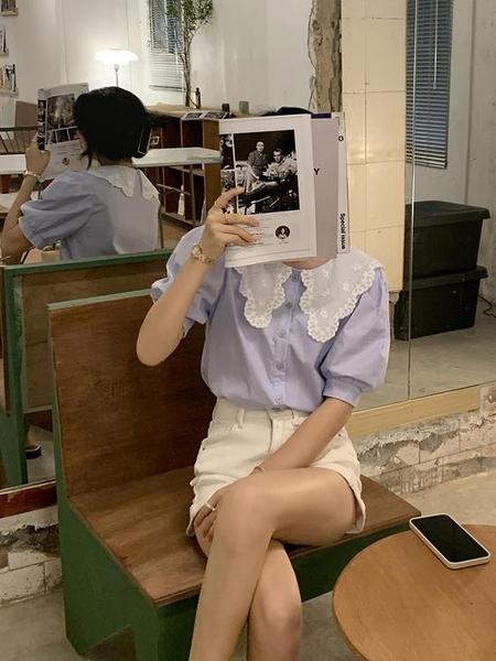 83紫色襯衫女短袖新款2021年夏季法式洋氣設計感小眾娃娃領