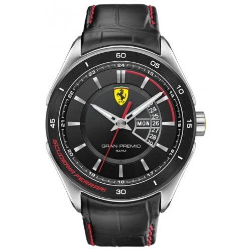 FERRARI Formula Italia 奢華經典黑面皮帶腕錶/0830183