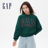 Gap女裝 Logo簡約風格寬鬆款休閒上衣 620508-松樹綠