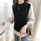 韓版寬鬆條紋拼接純棉襯衫T恤女2020新款復古小眾設計感減齡T恤女「時尚彩紅屋」
