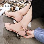 包頭涼鞋夏季新款韓版包頭中跟涼鞋女鞋學生羅馬一字扣帶粗跟百搭單鞋快速出貨下殺88折