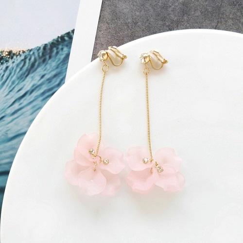 【NiNi Me】夾式耳環 甜美花朵水鑽夾式耳環 夾式耳環 E0136
