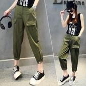 休閒工裝褲女夏年新款薄款寬鬆高腰顯瘦百搭直筒九分運動褲子 一米陽光