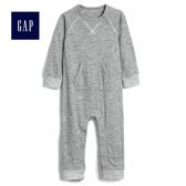 Gap男嬰兒 長袖圓領一件式包屁衣 489527-泥灰色