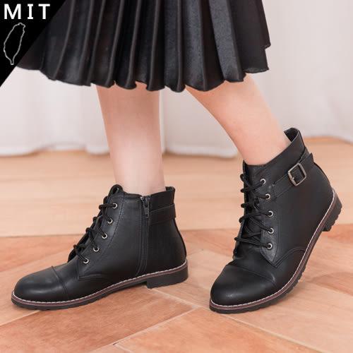 女款 歐美時尚百搭釦環側拉鍊綁帶平底短靴 馬靴 機車靴 MIT台灣製 59鞋廊