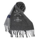 Vivienne Westwood 經典LOGO 骷顱頭圍巾(淺灰色)910523-2