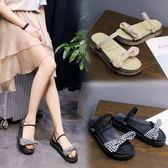 涼鞋日系可愛少女風格紋蝴蝶結兩穿厚底涼鞋拖鞋【02S9156】