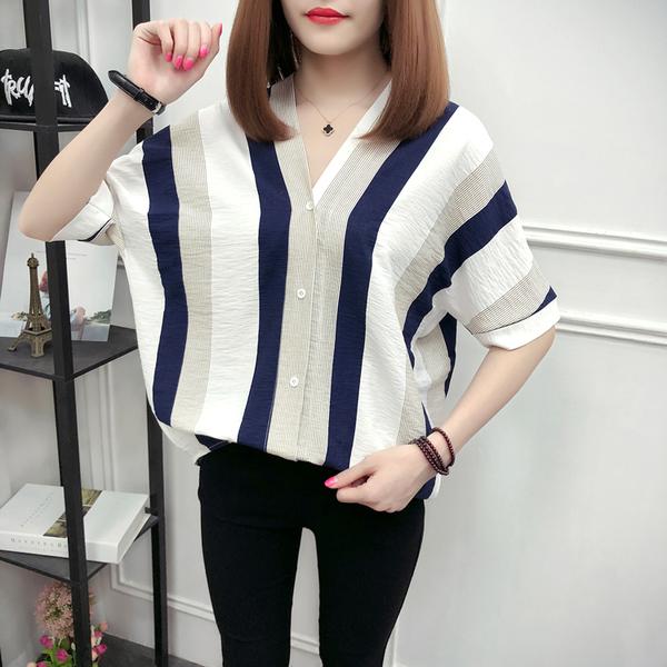 【藍色巴黎 】 韓版開襟排釦雙色豎條上衣/襯衫 《3色》【28891】