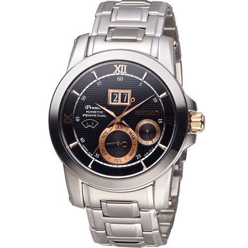 SEIKO 精工 人動電能自動追時萬年曆腕錶 7D48-0AR0D  SNP136J1