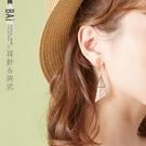 耳環 鏤空三角幾何圖形耳針&夾式耳環-BAi白媽媽【308199】