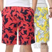 沙灘褲沙灘褲男純棉寬鬆大碼情侶裝休閒棉短褲  夏季胖子大褲衩男五分褲 衣櫥秘密