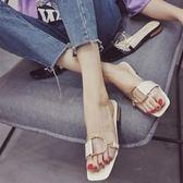 拖鞋 低跟社會透明一字涼拖鞋時尚外穿拖鞋 巴黎春天