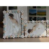 相框 6寸7寸金屬相框 彩色邊框花朵婚紗照像框 家居相架禮物擺台 X93 igo
