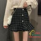 魚尾裙 2021春夏新款復古格子荷葉邊魚尾裙顯瘦高腰a字包臀短裙女半身裙 限時折扣