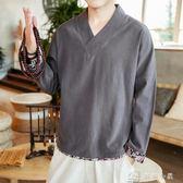 秋季棉麻上衣男長袖休閒中國風潮流青年t恤民族刺繡復古中式漢服 店慶