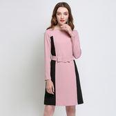 中大尺碼~撞色拼接優雅長袖連衣裙(L~5XL)