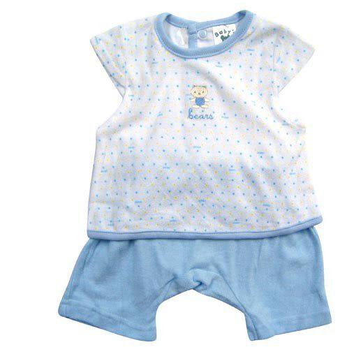 【奇買親子購物網】KUKI BIRD 小熊背心毛巾布套裝(藍色/黃色)