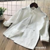 女童長袖襯衫-童襯衣童裝春季新品女寶寶可愛純色白襯衫 兒童女孩背后上衣 多麗絲