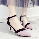 細跟單鞋尖頭中跟一字帶涼鞋女2020春夏季新款高跟鞋百搭配長裙的女鞋 LR19809『麗人雅苑』