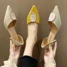 高跟鞋2020新款小清新法式少女夏季百搭細跟尖頭淺口單鞋 LF6447【極致男人】