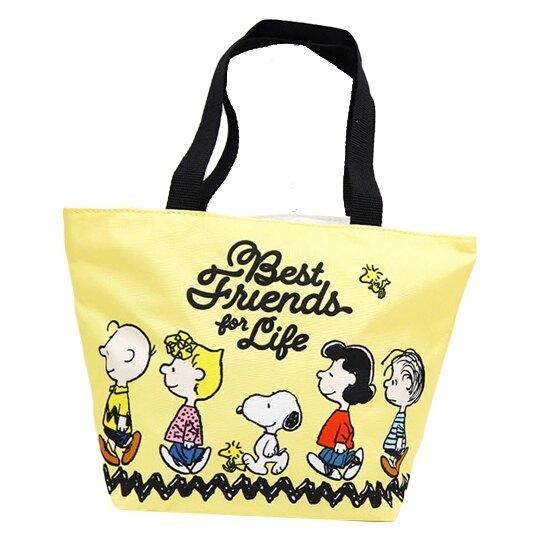 小禮堂 史努比 船形尼龍便當袋 午餐袋 野餐袋 手提袋 (黃 走路) 4712977-46749