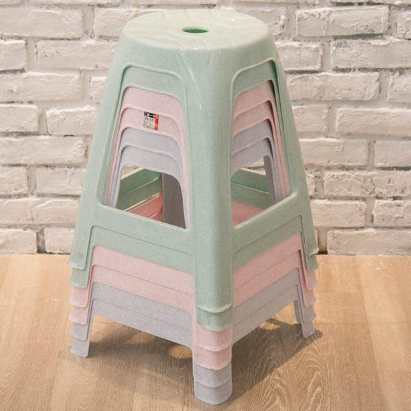 【粉彩夜市高椅4入組】椅子 夜市椅 傳統椅 粉彩高椅 麻將椅 三色隨機出貨  [百貨通]
