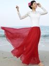 波西米亞大擺半身長裙春秋舞蹈拖地沙灘裙雪紡紗裙半身裙廣場舞裙