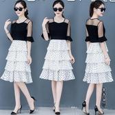 波點連身裙洋裝女2020夏季流行新款時尚氣質顯瘦假兩件套超仙蛋糕裙子 OO8731『黑色妹妹』