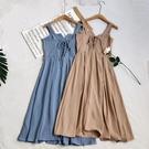 新款復古純色設計感小心機V領露背收腰顯瘦大擺長裙連衣裙女