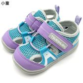 《7+1童鞋》小童 日本 MOONSTAR 月星 CARROT 透氣 魔鬼氈 機能鞋 涼鞋  C465 紫色