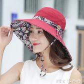 遮陽帽子女夏天防紫外線太陽帽可折疊沙灘盆帽涼帽戶外出游防曬帽 潔思米