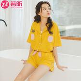 夏季睡衣女夏短袖純棉兩件套家居服套裝韓版少女可愛甜美夏天清新