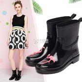 水鞋 新款時尚中筒水雨靴滑水鞋套鞋膠鞋成人雨鞋女 卡菲婭