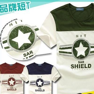 T恤ManStyle潮流嚴選圓領撞色星星字母條紋LOGO短袖T恤男【R9B0277】