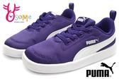 PUMA小童運動鞋 鬆緊帶 輕量透氣Courtflex Mesh lnf休閒跑步鞋J9507#紫色◆OSOME奧森鞋業