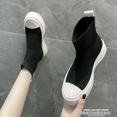 襪靴 港風透氣套腳襪子鞋厚底板鞋女飛織針織彈力布襪靴高幫休閒運動潮 萊俐亞