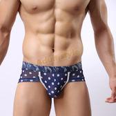 男內褲 四角褲 情趣用品 潮男-透明網紗青年性感低腰平口褲(圓點)M號『年中慶』