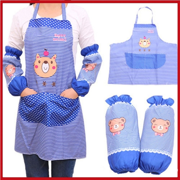 <特價出清> 卡通圍裙+袖套二件組 廚房防油 幼兒園【AE02689】99愛買小舖