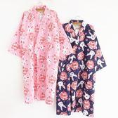 日式和服浴衣夏季純棉雙層紗布睡袍女薄款全棉櫻花兔睡衣開衫大碼  ifashion部落